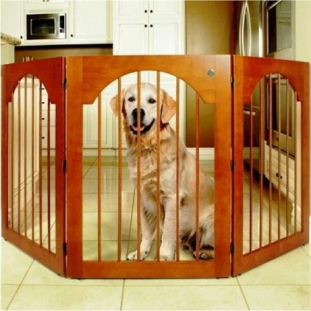 Universal Free Standing Pet Gate (Wood insert & Cherry Stain) by Majestic Pet
