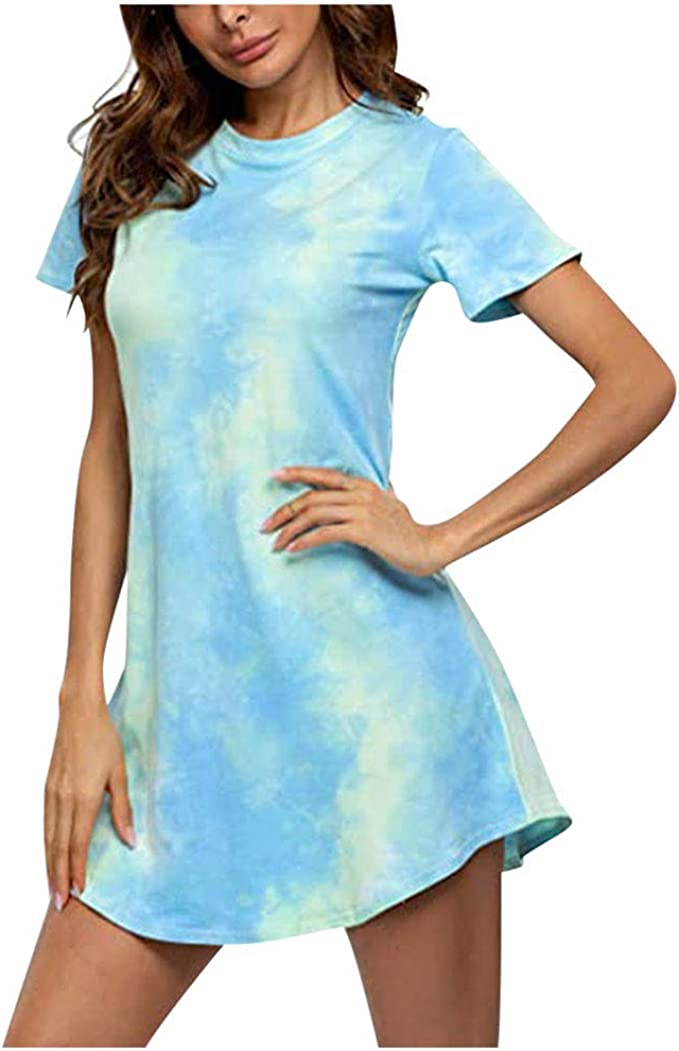 Women Floral Printed Long Sleeve Casual Baggy Pullover Jumper Shirt Mini Dresses