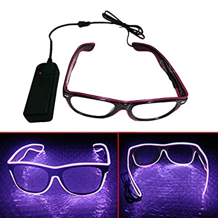 db614c7529d Amazon.com  El Wire Glasses - w AA Battery Pack - (Black Frame ...