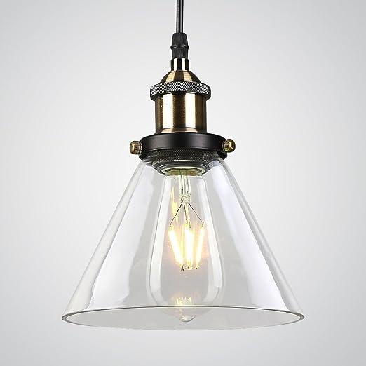 Splink E27 Industria Lámpara de techo Colgante de la Lámpara de luz de Techo Moderna Transparente Cortina de Cristal Luz del Celling para Cocina / ...