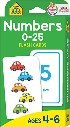 School Zone - Numbers 0-25 Flash Cards - Ages 4-6, Preschool and Up, Math Equations, Problem Solving, and More -