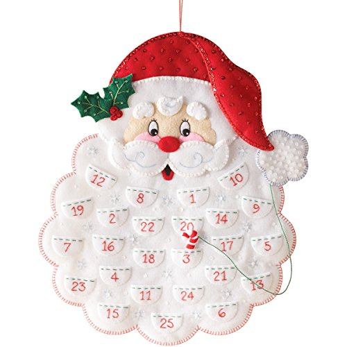 Bucilla Felt Applique Advent Calendar Kit, 14.5 by 18-Inch, 86540 Santa