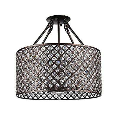 Edvivi Round Shade Crystal Semi Flush Mount Chandelier 4 light Ceiling Fixture Brushed Bronze