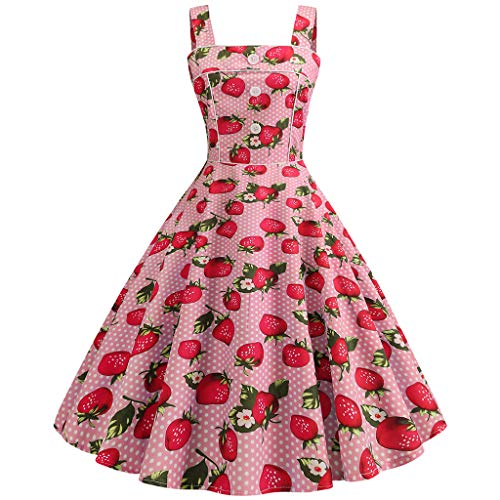 Mysky Fashion Women Popular Vintage 1962s Sweet Cherry Print Strappy A-Line Evening Party Prom Pleated Dress