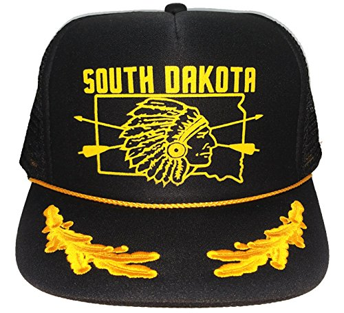 South Dakota Indian Native Mesh Snapback Trucker Hat Cap Gold Leaf Captains ()