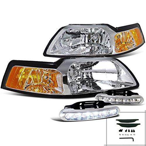 00 Crystal Amber Headlights (Ford Mustang GT SVT Crystal Headlights w/Amber Reflector+LED DRL Bumper Fog)