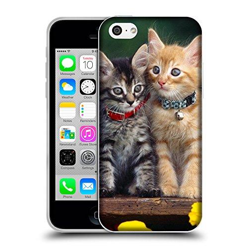 Just Phone Cases Coque de Protection TPU Silicone Case pour // V00004247 chatons de charme avec colliers // Apple iPhone 5C