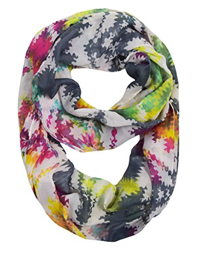 Peach Couture Vintage Womens Bohemian Design Infinity Loop Scarves (Rainbow Print)