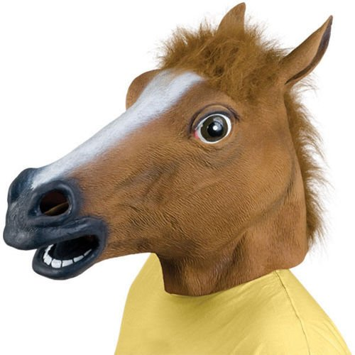 AKORD® RUBBER HORSE HEAD MASK PANTO FANCY DRESS PARTY COSPLAY HALLOWEEN ADULT COSTUME (Brown)