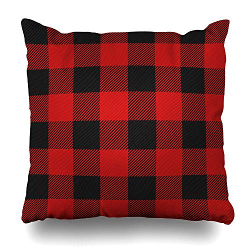 (NOWCustom Throw Pillow Cover Red Flannel Lumberjack Plaid Check Buffalo Black Pattern Tartan Lumber Zippered Pillowcase Square Size 16 x 16 Inches Home Decor Pillow Case)