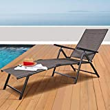 Tangkula Patio Lounge Chair Chaise, Adjustable Backrest Ergonomic Shape with Durable Handwoven Rattan Steel Frame Garden Lawn Pool Recliner Outdoor Furniture Wicker Lounger