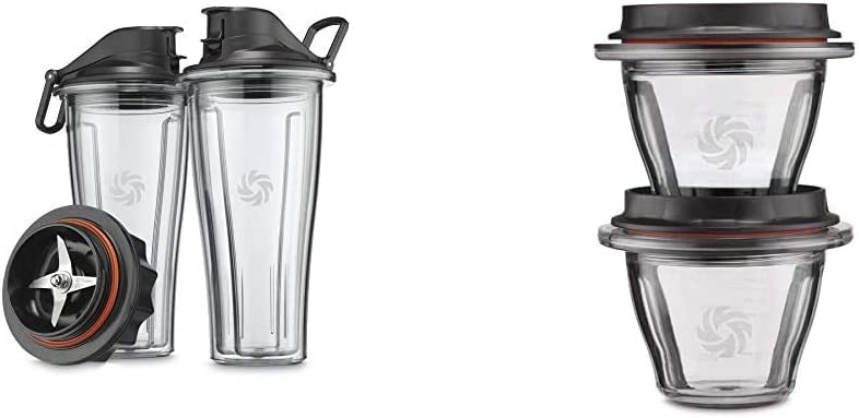 Vitamix Ascent Series Blending Cup Starter Kit, 20 oz. with SELF-DETECT, Clear - 66197 & Ascent Series Blending Bowls, 8 oz. with SELF-DETECT, Clear - 66192
