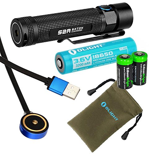 [Olight S2R Baton rechargeable 1020 Lumens CREE XM-L2 LED Flashlight EDC with Li-ion battery , flex magnetic USB charging cable and 2 X EdisonBright CR123A Lithium back-up Batteries bundle] (2 Flex Torch)
