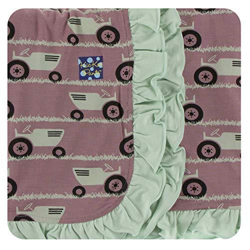 KicKee Pants Little Girls Print Ruffle Stroller Blanket - Raisin Tractor and Grass, One Size (Raisin Girl Infant)