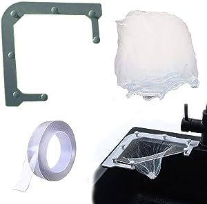 Sink Strainer Basket, Multipurpose Kitchen Corner Triangle Fine Net Filter Strainer, for Storage Kitchen Food Waste Leftover Garbage (1 Holder+100 PCS Filters Net+Nano Tape, Gray)