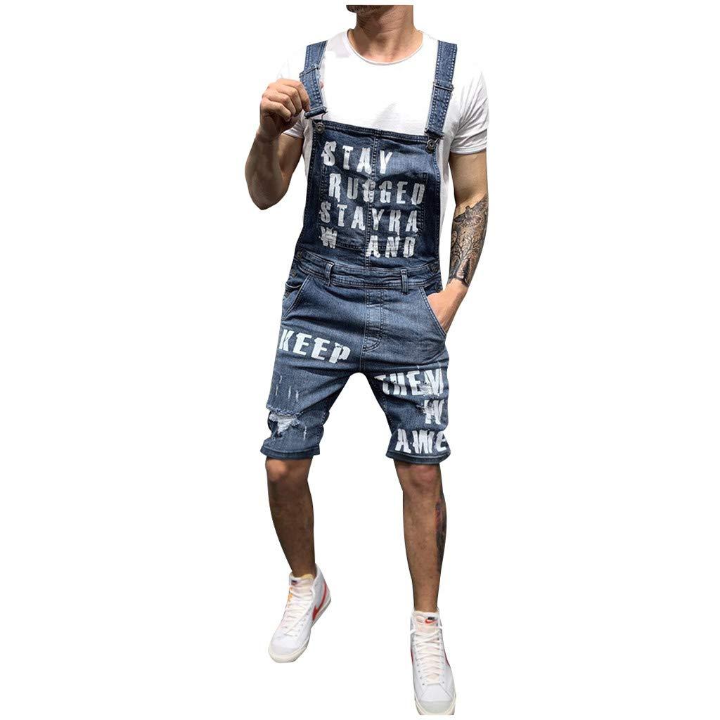 Overalls Shorts for Men,2019 New Summer Retro Letter Denim Button Jumpsuit Bib S-XXXL (XL, Dark Blue)