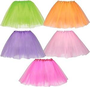 Dress Up America Tutus for Girls - Pack of 5 Colored Tutu Skirts - Tulle Three-Layered Girls Tutu