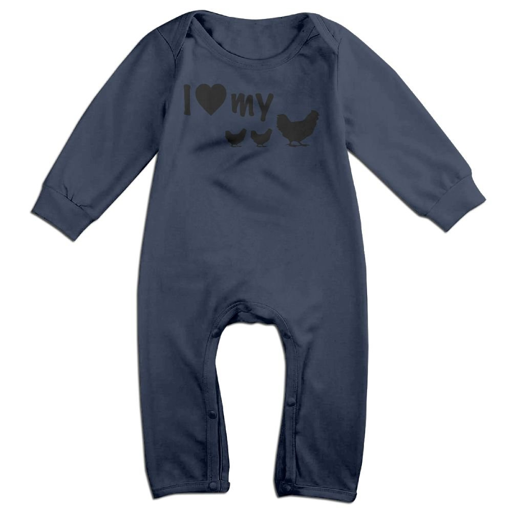 Baby Boy Organic Coverall I Love My Chickens Infant Long Sleeve Romper Jumpsuit