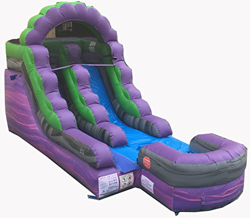 12-Foot Purple Royal Marble Inflatable Water Slide, Wet or Dry, Commercial Grade, 1.0 HP Blower and Stakes Included (Big Purple Slide)