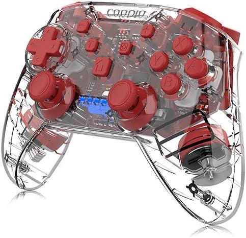 COODIO Mando Pro Controller Para Nintendo Switch, Mando Inalámbrico Switch, Wireless Bluetooth Controller Función de vibración Turbo Accesorio Para Ninendo Switch, Rojo Transparente: Amazon.es: Videojuegos