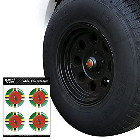Dominica National Country Flag Tire Wheel Center Cap Resin-Topped Badges Stickers - 2.4