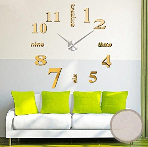 Jingzou Modern Mute DIY Large Wall Clock 3D Sticker Home Office Decor Gift (Reloj Omega De compare prices)