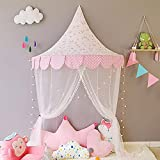 HB.YE 5 in 1 Kids Princess Canopy Bed Tents Gauze Curtain Hanging Moon Characters, Pink Flamingo Natural Cotton Dome Reading Tent children - Diametre 120cm/47.2'
