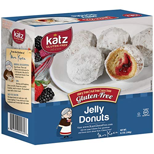 Katz Gluten Free Jelly Donuts | Dairy, Nut, Soy and Gluten Free | Kosher (1 Pack of 4 Donuts, 8.5 Ounce)