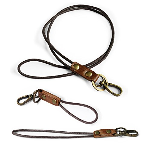 Office Lanyard, Boshiho Cowhide Leather Neck Lanyard Wrist Strap with Strong Clip and Keychain for Keys, ID Badge Holder, USB or Cell Phone (3 Size)