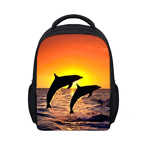 (Beauty Collector 3D Dolphin Print Mini Kids Backpack Toddler Cute Shoulder Bag 12 Inch)
