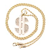 Men's Gold Plated Dollar Micro Pendant Iced Out Iron Rope Chain 3mm 24' Hip Hop Bling Necklac