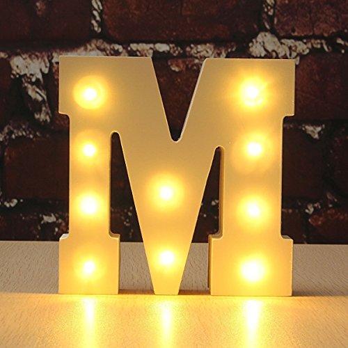 Light Up Letters , Hostweigh LED Light Up Wooden Alphabet Letter Lights for Festival Decorative, Letter,Party,Wedding (M)