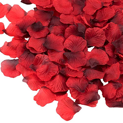 Supla 3000 Pcs Silk Rose Petals Fabric Petals in Dark Red 2 to 2 1/4 for Wedding Party Decoration