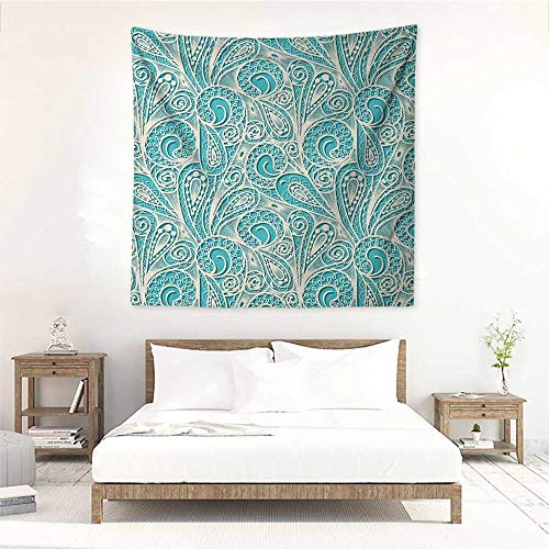 (Teal and White Wall Tapestry for Bedroom White Lace Style Pattern Feminine Fashion Romantic Composition Print Literary Small Fresh 55W x 55L INCH Turquoise White)