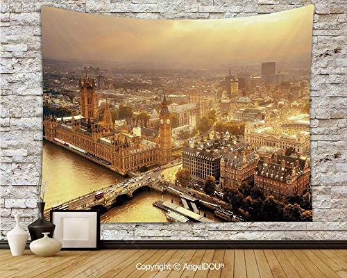 AngelDOU Cityscape Dorm Decor Wall Hanging Tapestry Westminster Aerial View with Thames River and London Urban Cityscape Panoramic for Living Room Bedroom.W59xL51.2(inch) -