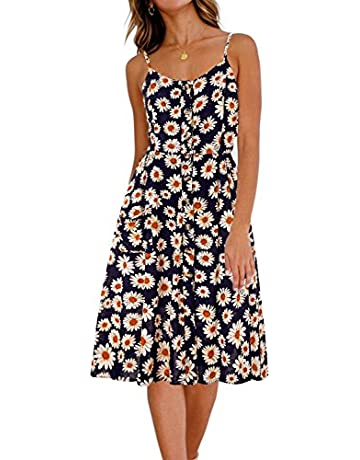 1ae8bd7fc BMJL Women's Dresses V Neck Floral Print Strappy A Line Ladies Sleeveless  Cocktail Party Beach Summer