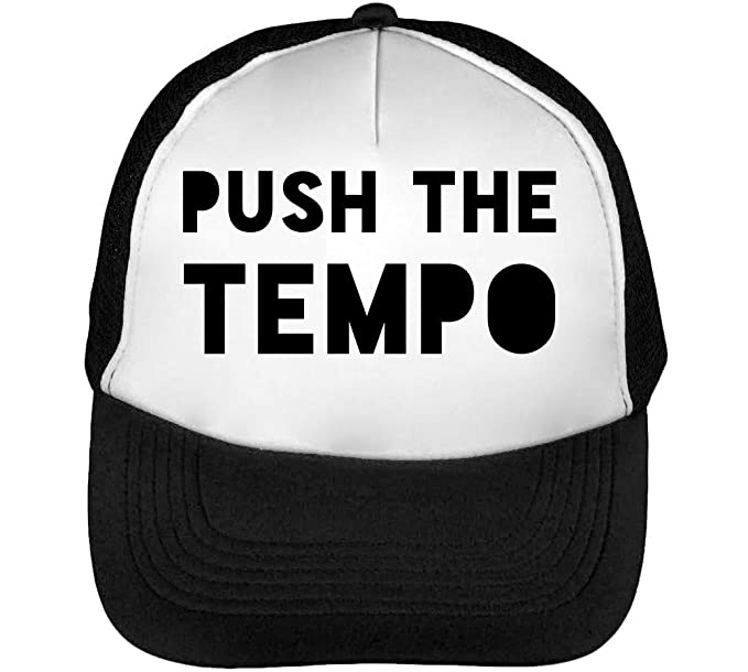 Push The Tempo Party Dance Slogan Gorras Hombre Snapback Beisbol Negro Blanco: Amazon.es: Ropa y accesorios