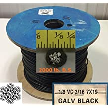 """Black Vinyl Coated Steel Aircraft Cable 1/8"""" VC 3/16"""" 7x19 Wire Rope Clothes line (100ft)"""