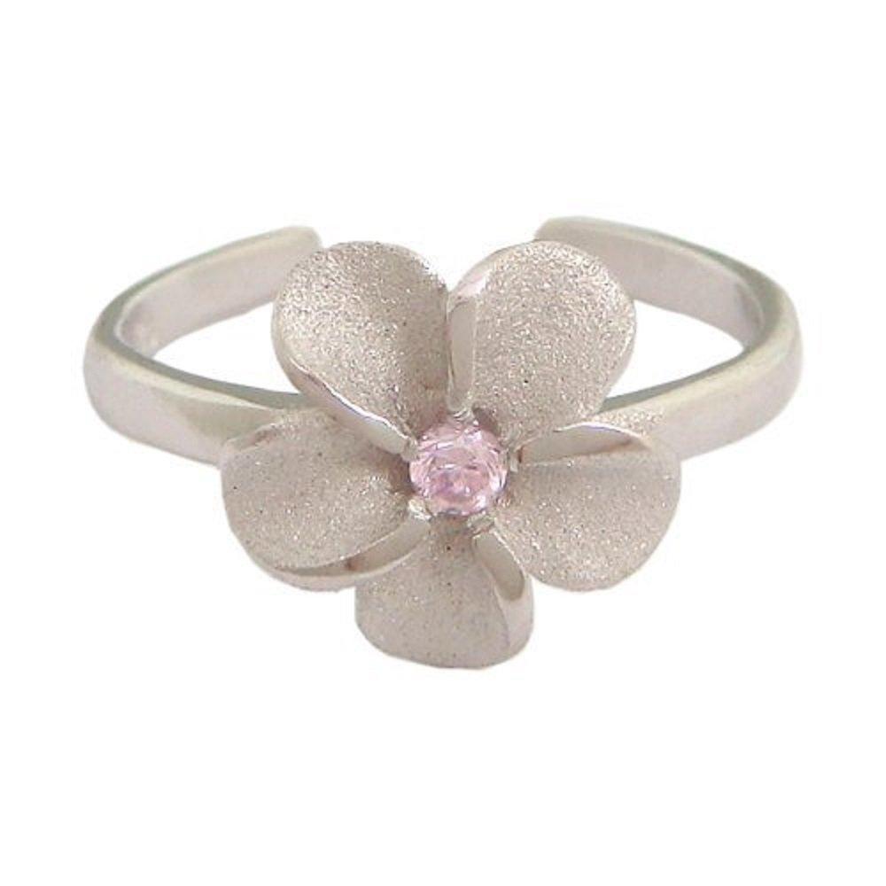 Hawaiian Jewelry Sterling Silver Plumeria Flower Pink CZ Toe Ring