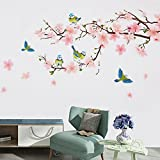 Wopeite Floral Wall Decal Sticker Self - Adhesive Flower Peach Blossom Tree Branch Instant Wall Decal Sticker for Living Room Bedroom 45 X 60 CM