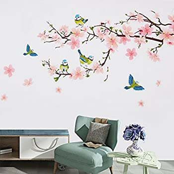 Wopeite Floral Wall Decal Sticker Self   Adhesive Flower Peach Blossom Tree  Branch Instant Wall Decal