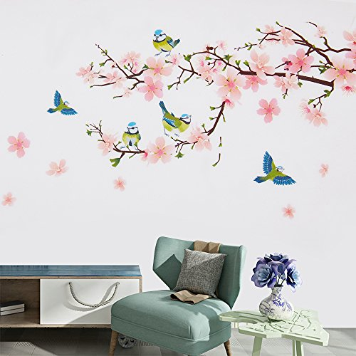 Wopeite Floral Wall Decal Sticker Self - Adhesive Flower Peach Blossom Tree Branch Instant Wall Decal Sticker for Living Room Bedroom 45 X 60 CM by Wopeite