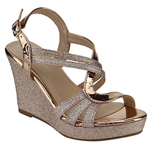 FOREVER FQ22 Women's Glitter Strappy Wrapped Wedge Heel Platform Sandals, Color Rose Gold, -