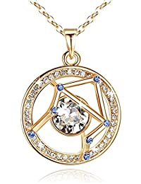 """Superstar Zodiac Constellation Pendant Necklace Made with Swarovski Crystal Horoscope Jewelry, Gold or Rose Gold Plated, 18""+ 2"""