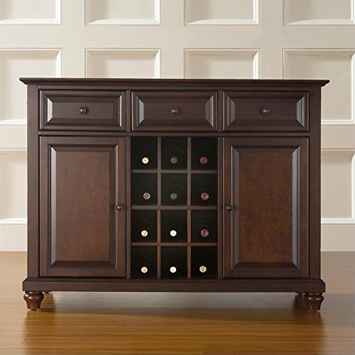Crosley Furniture Cambridge Wine Buffet / Sideboard – Vintage Mahogany For Sale