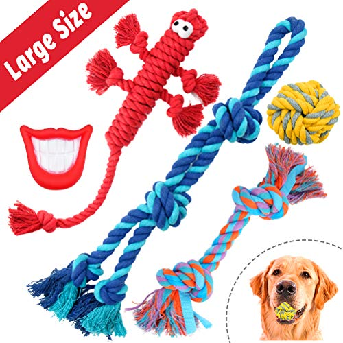 - FAYOGOO Dog Rope Toys for Aggressive Chewers, 5 Packs Dog Toys for XLarge Dogs, Including Tough Cotton Dog Rope Toys, Indestructible Dog Rope Ball and Squeaky Toy for Playtime and Teeth Cleaning
