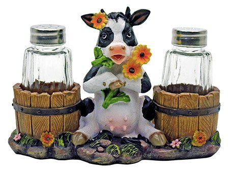 Sunflower Cow Country Decorative Glass Salt Pepper Shakers Holder Resin Figurine ()