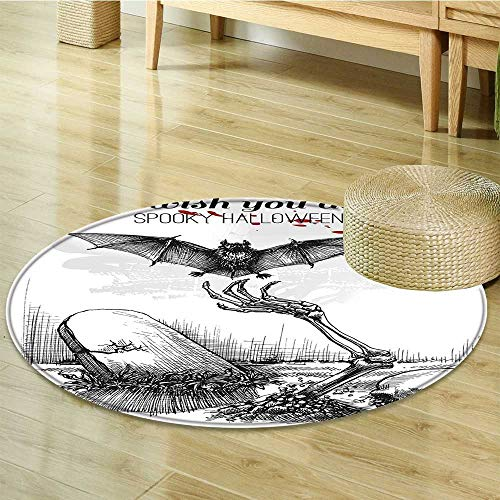 Sigrid Sapir DIY Round Area Rug Carpet Dead Skull Zombie Out of Grave and ing Bat Style Spooky Black White Living Dinning Room and Bedroom Rugs-Round 24