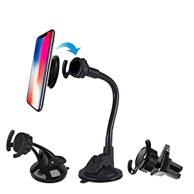 LEWOTE Universal Car Phone Mount[Dashboard/Windshield/Air Vent Cell Phone Holder 3in1][Strong Suction Cup][Gift 2Pcs Collapsible Grip]: Beauty