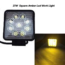 Night Break Light 1PC 27W Amber LED Work Light Square Led Fog Light Spot Beam IP67 for Off Road ATV Tractor Train UTV Water proof Boat Led Work Light